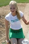 Blonde amateur teen upskirt golfing