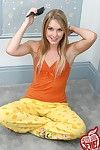 Cute blonde teen girl strips pjs