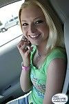 Blonde amateur teen twitting in public