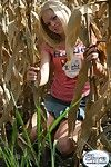 Blonde amateur teen tease dimming in corn field