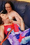 Nerdy babe having fun with a lesbian housewife
