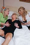 Three lesbian mature landed gentry having a bandeau