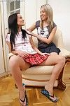 Stunning cuties undress with an increment of dildo exposed to sofa