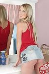 Cute blonde teen dame around bedroom
