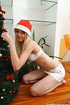 Sexy teen performing christmas striptease