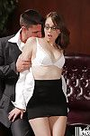 Office fuck with a sexy pornstar in glasses Nickey Nimrod