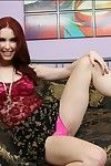 Interesting redhead babe Melody Jordan uncovering the brush mind-blowing loopings
