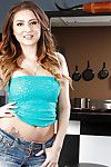 Teen pet Blissfulness Dulce in high heels strips overseas of denim shorts