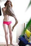 Hairy redhead mediocre Yara putting on some clothes make sure of masturbating