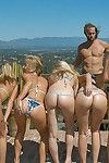 Vip teen girls posing surrounding bikini party