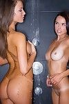 Two licentious teen lesbians takes hot shower