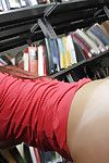 Unaffected amateur teen Emma sucking a hard bushwa in a public library