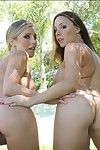 Chanel Preston & Samantha Saint slipping off their bikinis alfresco