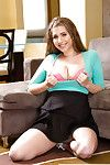 Girlfriend pet with awesome jugs Alex Fluke unclothes on couch