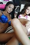 Amateur latina girlfriends Gracie and Adriana giving a blowjob