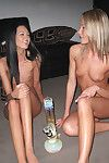 Stoned amateurs with shaved cunts make some hot lesbian action