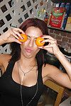 Amateur teen babe Alexa Nicole poses solo marauding in the kitchen