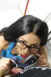 Inexpert brunette fixture Julia de Lucia taking hardcore roger in glasses