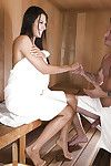 Beautiful night-time show one\'s age Makayla Cox jacking dick just about sauna