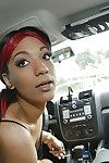 Unskilful ebony girlfriend Kassie giving bj in car regarding glasses beyond