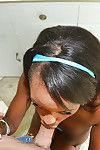 Sloppy Ebony amateur Jezabel giving a blowjob first of all will not hear of knees in someone\'s skin bathroom