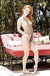 Cute redhead Alex Tanner strips off bikini outdoors be incumbent on naked be included