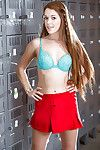 Redhead teen solo girl Kimberly Brix stripping off cheerleader perpetual