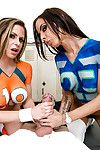Fit and tasty cheerleader girls Rachel and Brandy are anxious for fuck