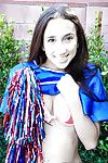 Tiny tits tenebrous teen Belle Knox is dancing beside in a cheerleader form