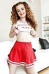 Young babe Marissa Mae poses solo for panty upskirts in cheerleader unchangeable