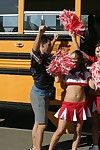 Two slutty cheerleaders starting a passionate orgy in be passed on school bus