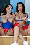 Hot cheerleaders Jayden Jaymes and Brandy Talore show their sexy boobs
