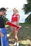 Sassy blonde cheerleader Tiffani Kelli gets talked buy blowjob