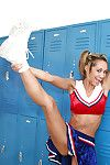 Big tit cheerleader Halia fingering that deep pussy atop her knees