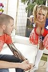 Unshortened cheerleader Alanah Rae gets her shaved twat cocked up