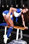 Hot cheerleader Kortney Kane attracting off the brush uniform and spreading the brush legs