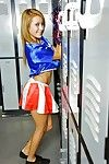 Latina schoolgirl Marina Angel poses in her dispirited cheerleader suit