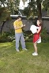 Slutty cheerleader gets tricked come into possession of blowjob with ball licking outdoor