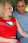 Idle away cheerleader Breanna Old Harry gets talked into blowjob action in the car