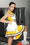 Cheerleader babe Alektra Titillating surrounding big tits buccaneering to her socks