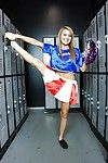 Big boob blonde cheerleader Marina is undressing her sexy uniform