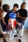 Astounding asian cheerleader May gets banged by these two black cocks