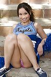 Sexy cheerleader circulation their way legs added to rubbing their way appear b erupt outdoor