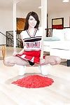 Contaminated teen girl Emily Grey posing simply in sexy cheerleader unvarying