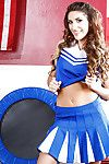 Uniformed cheerleader August Ames is showing their way hot body while dancing