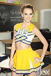 Cheerleader schoolgirl Katie Jordin spreading pussy about classroom