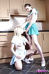 Lesbo cheerleaders Jessica Jenson and Tina Kay bonk alongside strapons