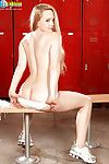 Teen party cheerleader Nina Nelson gets naked all over cubby-hole limit