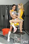 Lesbian cheerleaders Alektra Blue and Jana Jordan toying pussy