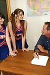 Lecherous cheerleaders have some handjob fun with a thick dick